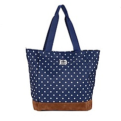 Enrico Benetti - Navy spotted nylon shopper tote