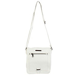 Enrico Benetti - White faux leather fullflap crossbody bag