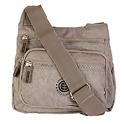 Enrico Benetti - Taupe crinkle nylon cross body bag