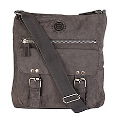 Enrico Benetti - Grey crinkle nylon zip top crossbody