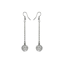 Mikey London - White 12mm crystal drop earring