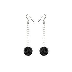 Mikey London - Black 16mm crystal drop earring