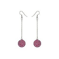 Mikey London - Pink 16mm crystal drop earring
