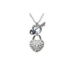 Mikey London - White heart lock+key necklace