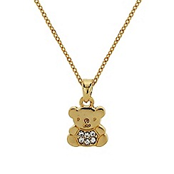 Mikey London - Gold small diamante teddy bear necklace