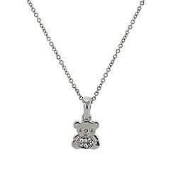 Mikey London - Silver small diamante teddy bear necklace