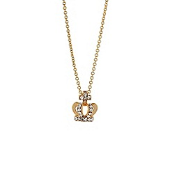 Mikey London - Gold small diamante crown necklace