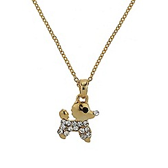 Mikey London - Gold small diamante dog necklace