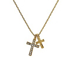 Mikey London - Gold small diamante cross necklace