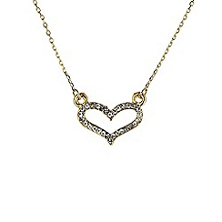 Mikey London - Gold small diamante heart necklace