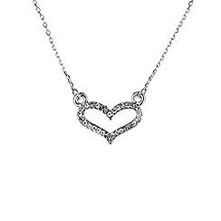 Mikey London - Silver small diamante heart necklace