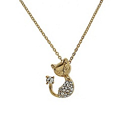 Mikey London - Gold small diamante cat necklace