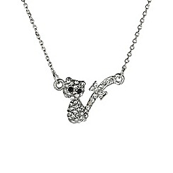 Mikey London - Silver small diamante cat necklace