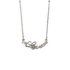 Mikey London - Silver small diamante love necklace
