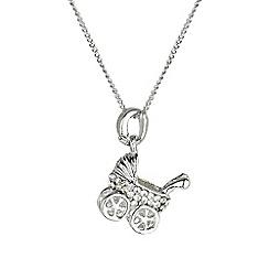 Mikey London - Silver small diamante pram necklace