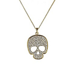 Mikey London - Gold small diamante skull necklace