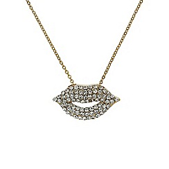 Mikey London - Gold small diamante lips necklace