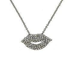 Mikey London - Silver small diamante lips necklace