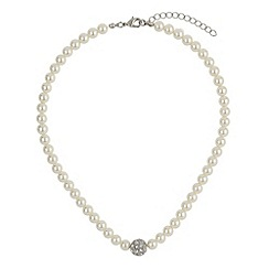 Mikey London - White crystal ball pearl necklace