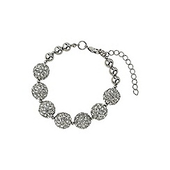 Mikey London - White crystal 15mm ball & metal beads barcelet