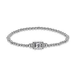 Mikey London - White cubic cylinder bead elastic bracelet