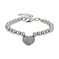 Mikey London - White studded crystal heart bracelet