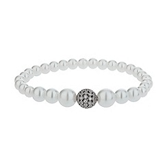 Mikey London - White fine cubic 10mm ball pearl bracelet