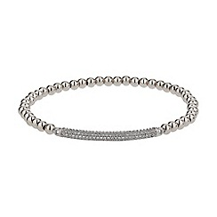 Mikey London - White elastic crystal id bracelet