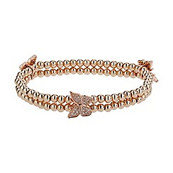 Mikey London - Rose gold triple butterfly twin line bracelet