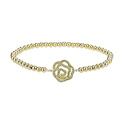 Mikey London - Gold daisy crystal flower elastic bracelet