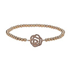 Mikey London - Rose gold daisy crystal flower elastic bracelet