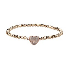 Mikey London - Rose gold fine cubic heart elastic bracelet