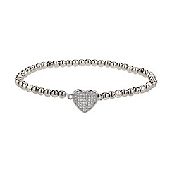 Mikey London - White fine cubic heart elastic bracelet