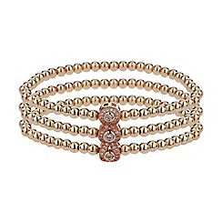 Mikey London - Rose gold triple oval linked crystal bracelet