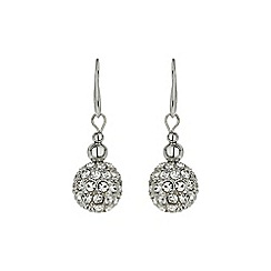 Mikey London - White crystal 15mm ball & metal beads earring