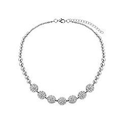 Mikey London - White crystal 15mm ball & metal beads necklace