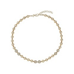 Mikey London - Gold twin crystal ball & metal bead necklace