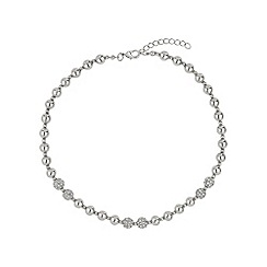 Mikey London - White twin crystal ball & metal bead necklace