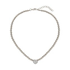 Mikey London - White studded crystal heart necklace