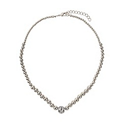 Mikey London - White large crystals ball metal chain necklace