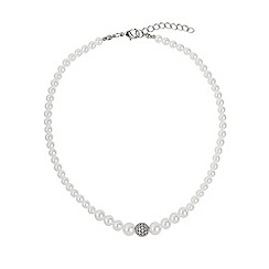 Mikey London - White fine cubic 10mm ball pearl necklace