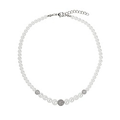 Mikey London - White multi shiny 10 cubic ball pearl necklace