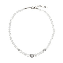 Mikey London - White multi shiny 12 cubic ball pearl necklace