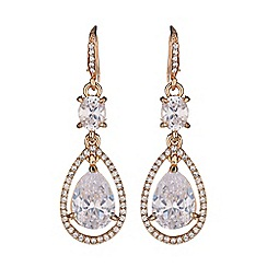 Mikey London - Long drop oval crystal earring