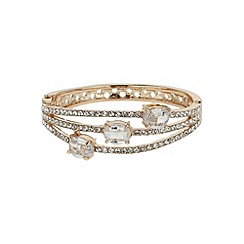 Mikey London - Gold triple line crystal oval stones bracelet