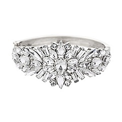 Mikey London - Crystal flower baguette cuff bracelet