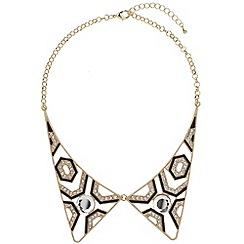 Mikey London - Gold two piece diamonte collar