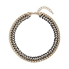 Mikey London - Black crystal chain in metal choker
