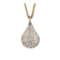 Mikey London - Gold crystal oval pendant