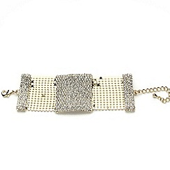 Mikey London - Gold crystal rectangle design bracelet